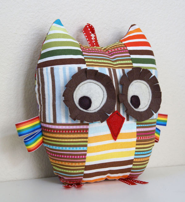 patchwork owl plush toy