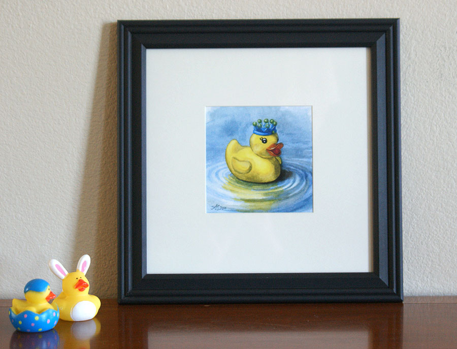 Rubber Ducky watercolor framed 5x5