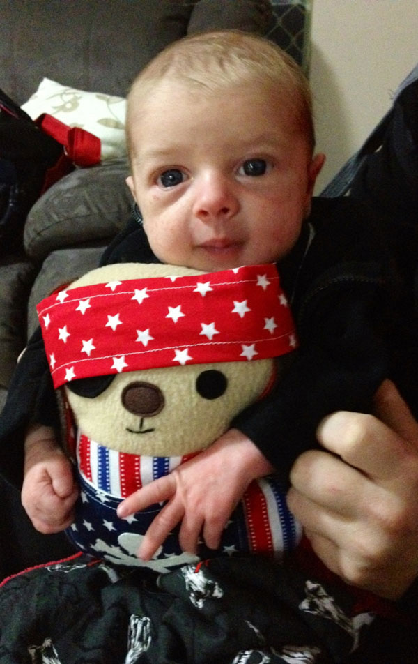 pirate dog plushie with baby