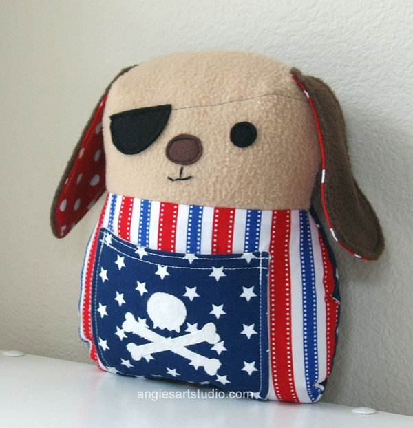 pirate dog plush toy pillow