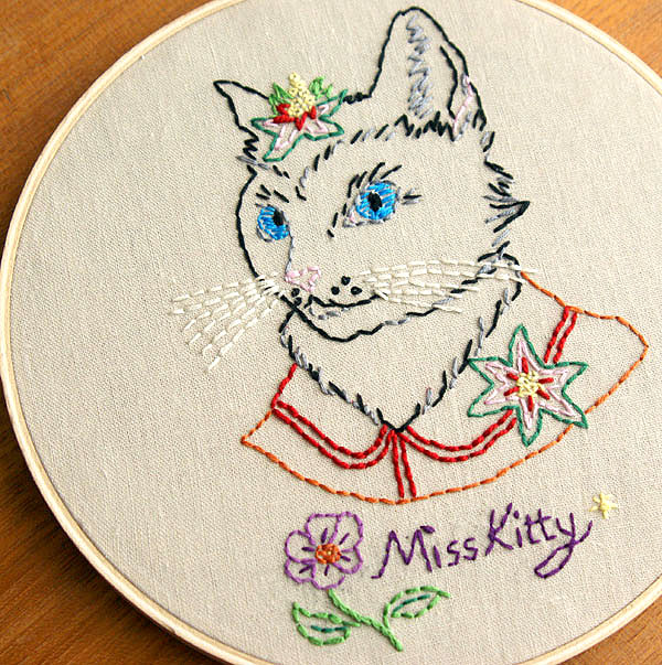 Ryan Berkley Kitty Embroidery