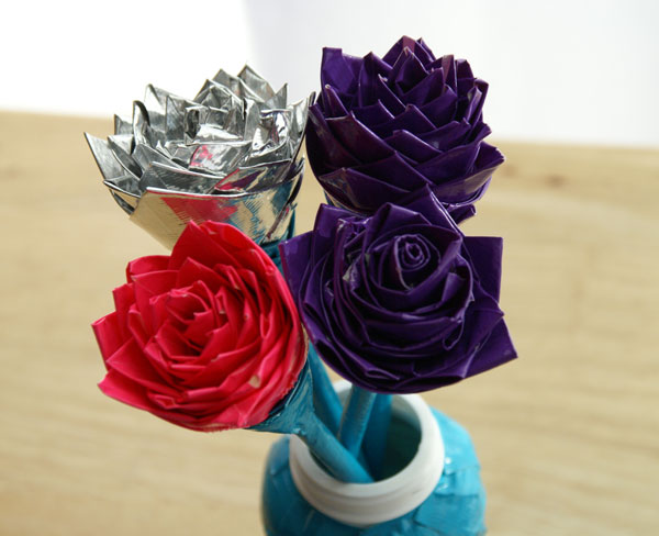 duck tape flowers in vase
