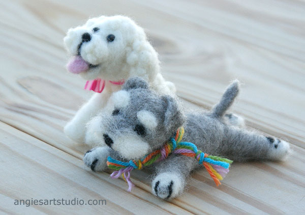 Needle Felted Puppies: Poodle and Schnauzer