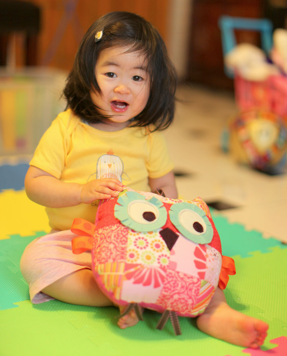 medium owl pillow / plush toy pretty in pink