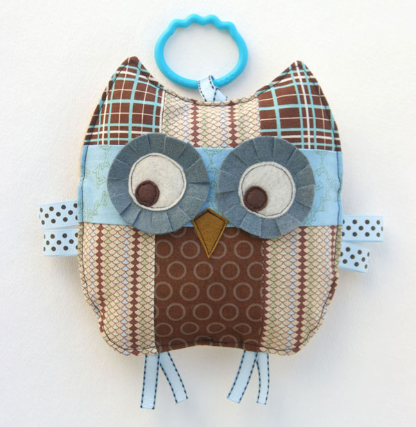 Otto the patchwork owl baby crinkle toy