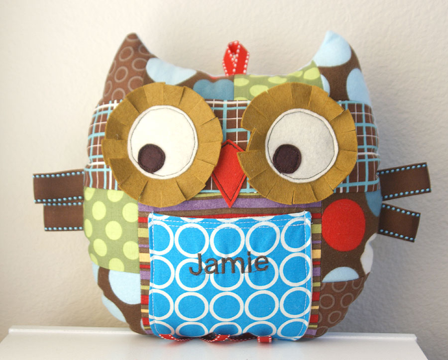 Personalized Patchwork owl pillow plushie for boy