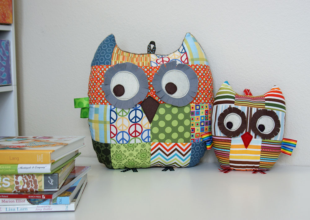 patchwork owl pillows plush toys