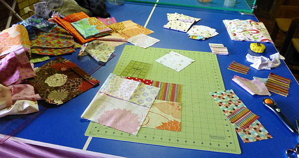 Patchwork bedspread in progress