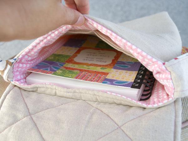 patchwork art bag inside view