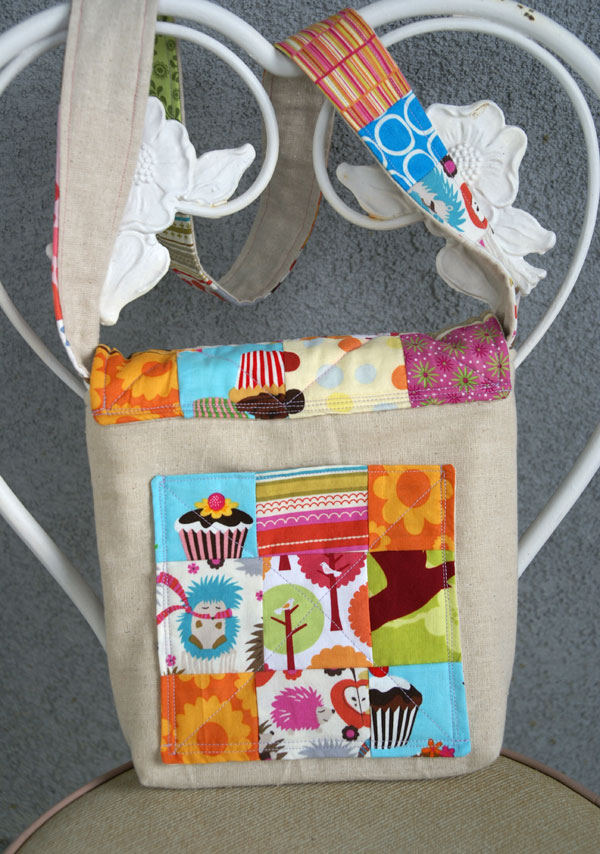 patchwork art bag back view