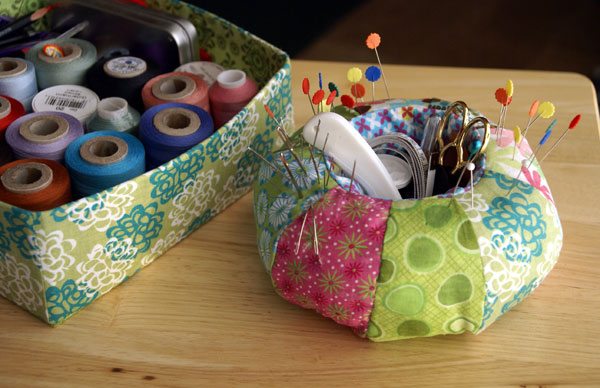 pin cushion and fabric box