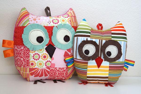 patchwork owl pillows