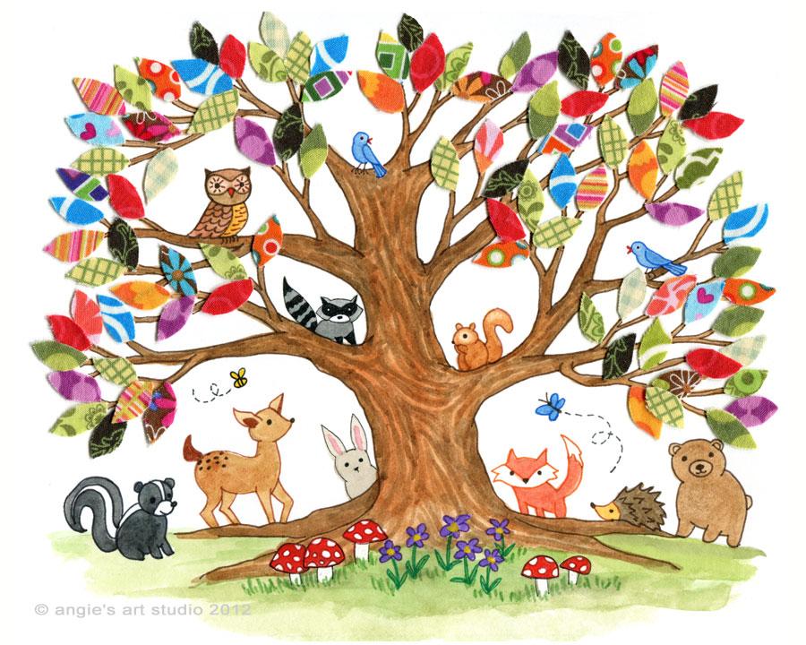 Tree of Life - Woodland Creatures Art Print