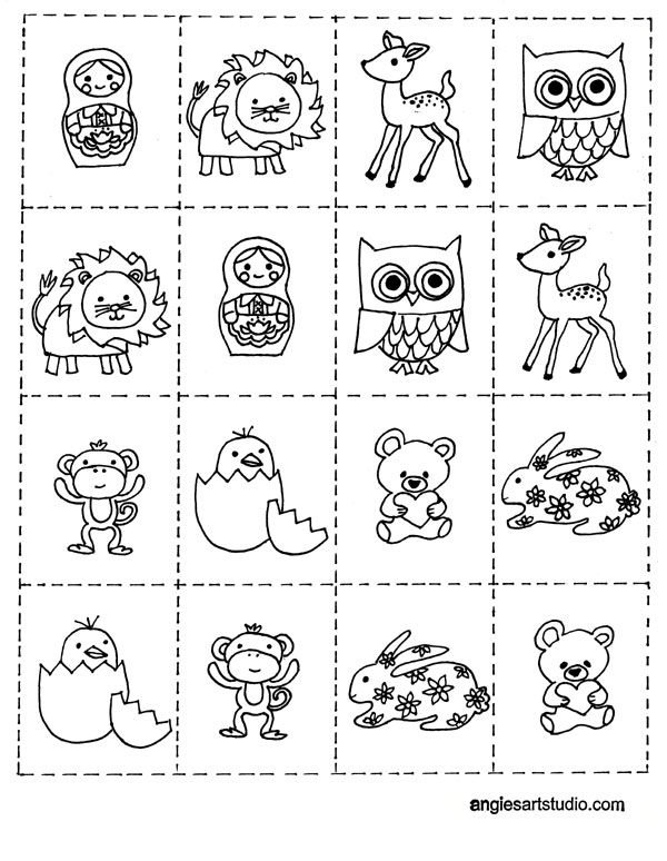free coloring page and memory game for kids angie 39 s art studio