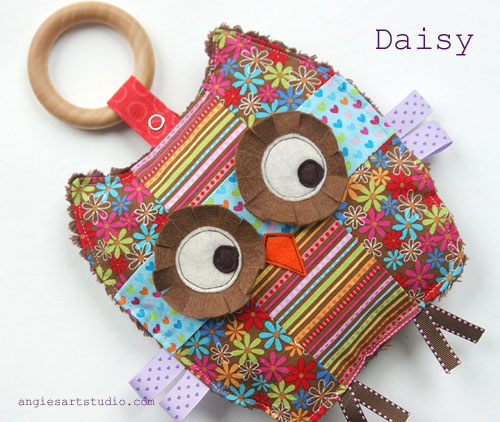 Daisy the patchwork owl baby crinkle toy