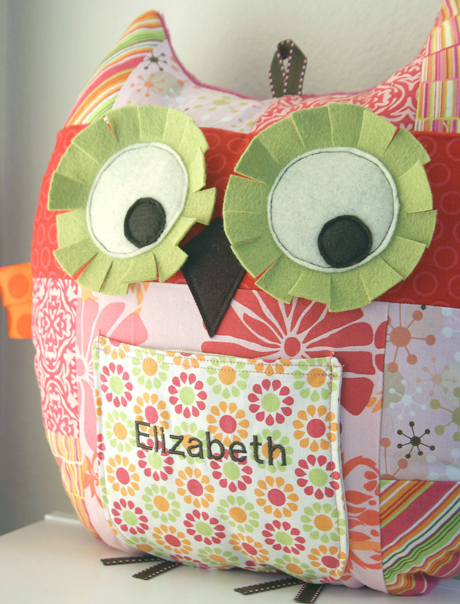 large pretty in pink patchwork owl pillow with front pocket and personalized name