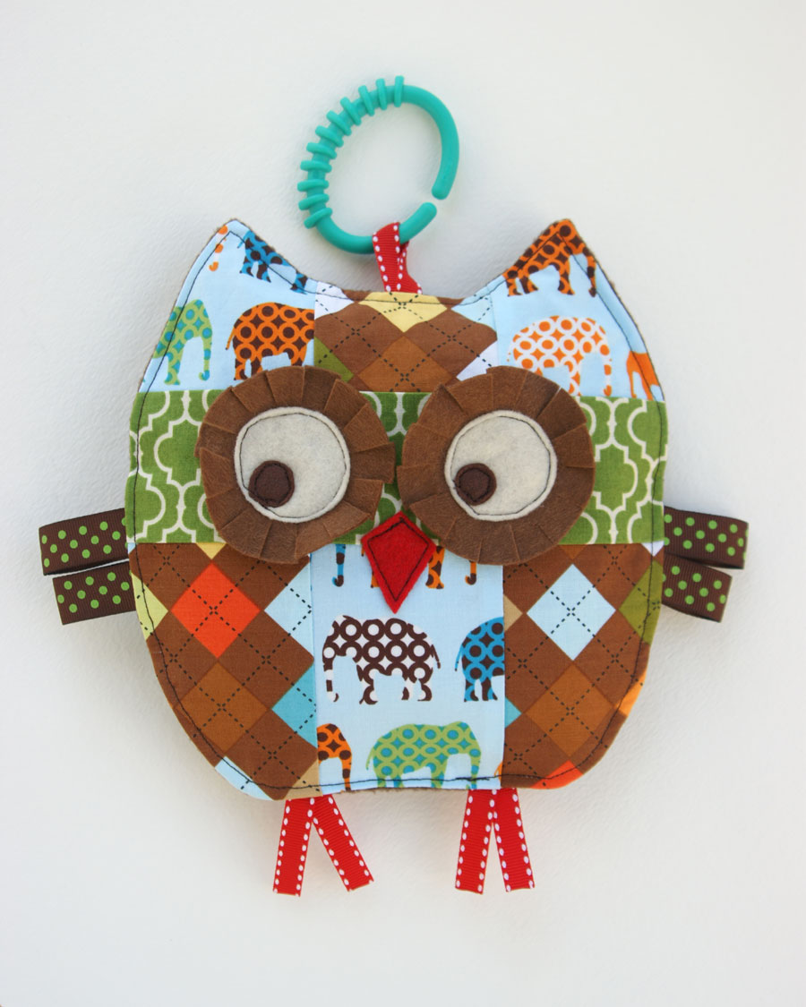 Henry the patchwork owl baby crinkle toy