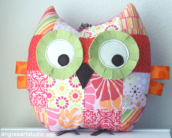 Patchwork owl pillow stuffed toy