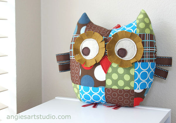 spotty patchwork owl pillow plush toy
