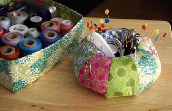 pin cushion and fabric box