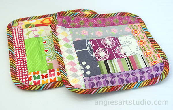 Sewing Tutorial Log Cabin Potholders Made From Fabric