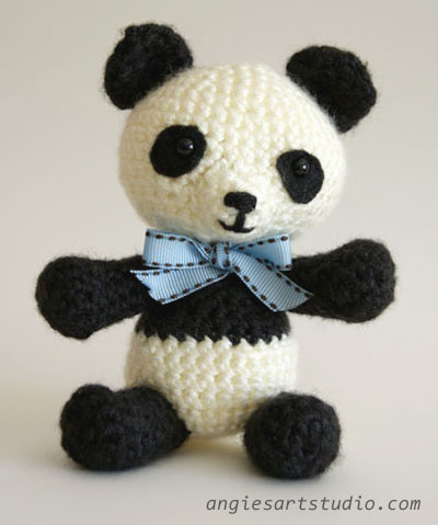 panda crochet with bow